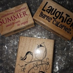 Three VINTAGE & RETIRED Rubber Stamps!